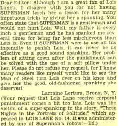 A fan letter asking for Superman to spank Lois Lane