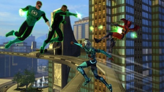 Green Lanterns fighting villains