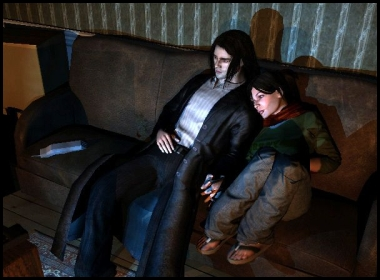 Girlfriend and boyfriend scene from The Darkness