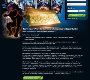 DCUO's pre-order text for PC and PS3