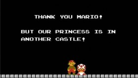 Mario Bros: The princess is in another castle.