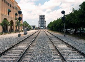 Double-tracked railroad bridge over the New River in Ft. Lauderdale.