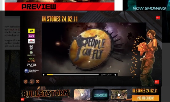 Bulletstorm in-page pop-up ad