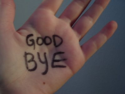 Good bye, written on a hand