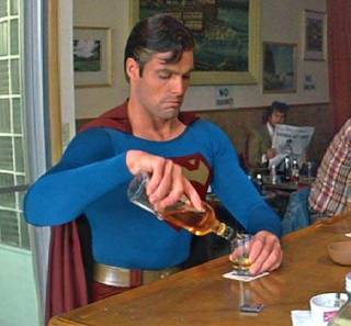 Superman is a mean drunk.