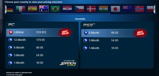 DCUO subscription prices from the DC Universe Online main page