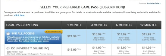 DCUO's Game Pass pricing page