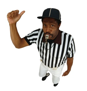 A referee with a whistle