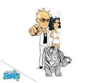 A man in a white suit, a white tiger and a Playboy Bunny dressed in white.