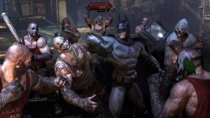 Batman fighting henchmen in Batman: Arkham City