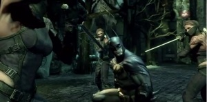Batman versus three ninjas in Batman: Arkham City