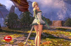 A sword master in a short, strapless dress from Blade & Soul.