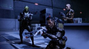 A screenshot from Mass Effect 2 showing cover and guns.