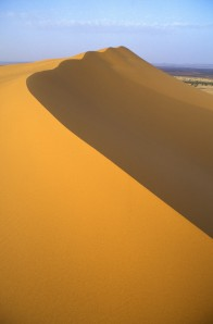 Sand dunes in the Moroccan desert of Northern Africa