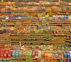 Shelves showing a large range of product choices.