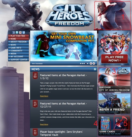 City of Heroes / Villains website as of today