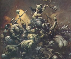 A barbarian killing a number of people.