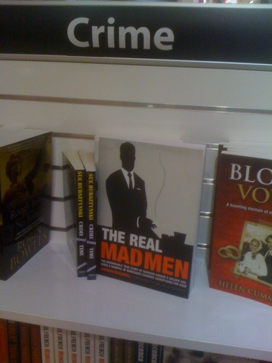 "Book of ""The Real Mad Men"" placed in the Crime section."