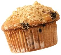 A muffin. Almond and blueberry, maybe