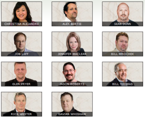 The eleven people who were listed on 38 Studios' website as their management team.