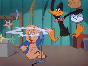Duffy Duck and Porky Pig in a particularly violent game show.