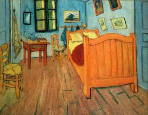 A spartan bedroom as painted by Van Gogh