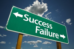 A signpost indicating success on one side and failure on the other.