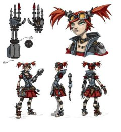 The Mechromancer is an alt goth steampunk kind of grrl with robot arms.