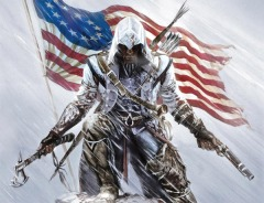 Connor Kenway posing in front of the US flag. Like Native Americans tend to do.