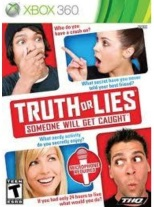 Truth or Lies box art on the Xbox 360. Four people showing a lot more engagement with the game than ever happened in real life.