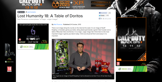 Geoff Keighley surrounded by Doritos and Mountain Dew that is in turn wrapped by Rob Florence's column that is in turn surrounded by ads for current video game titles.