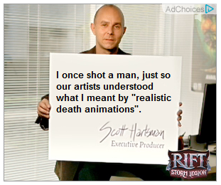 "The card says, ""I once shot a man, just so our artists understood what I meant by ""realistic death animations""""."