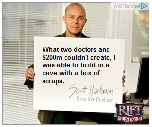 "The card says, ""What two doctors and $200m couldn't create, I was able to build in a cave with a box of scraps."""