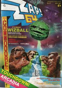 The cover of Zzap!64 from July 1987, which Wizball on the cover.