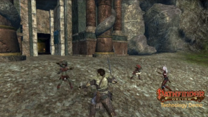 Characters fight goblins in the Pathfinder Online technology demo.