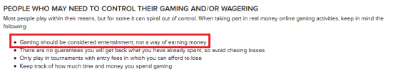 """Somewhere in the fine print Virgin Gaming recognises that """"Gaming should be considered entertainment, not a way of earning money""""."""