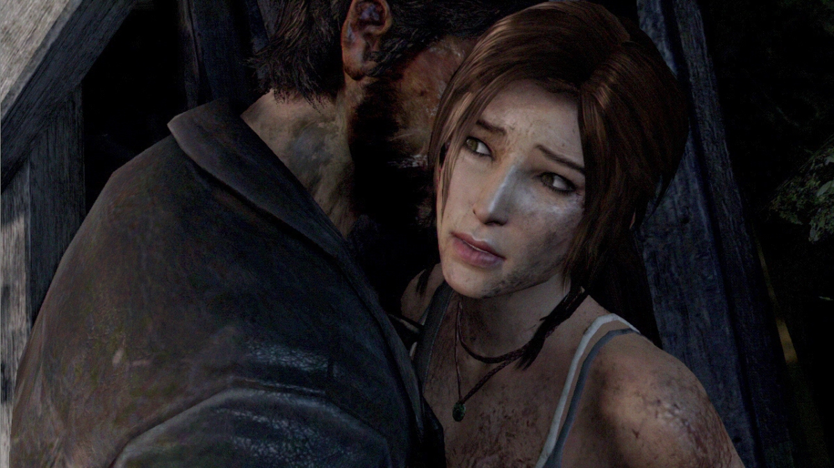 A man standing awfully, awfully close to the vulnerable Lara Croft