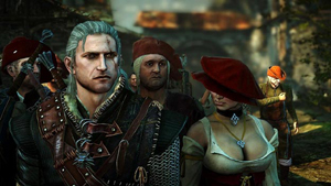Geralt standing next to Margot, the brothel madam in Flotsam.