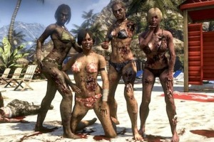 Four zombie women in bikinis pose for a group shot. All have their heads.