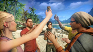 A group of characters from Far Cry 3 toasting to their own awesomeness.