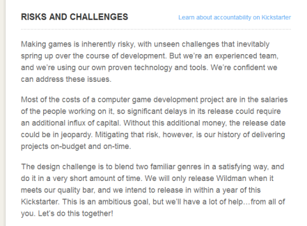 The key points are: making video games is risky, if we see delays we might need more capital but we're going to deliver a quality title probably on time and on budget.