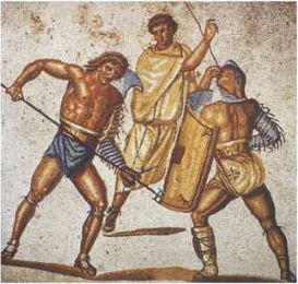 An ancient picture of gladitors fighting.  This image (or other media file) is in the public domain because its copyright has expired.
