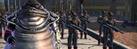 A team of Stormtrooper-like soldiers led by a Hutt with a cybernetic arm.