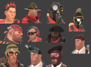 A small display of the different kinds of hats available in Team Fortress 2.