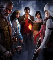 A group of key The Secret World characters gathered around, staring back at those who view this image.