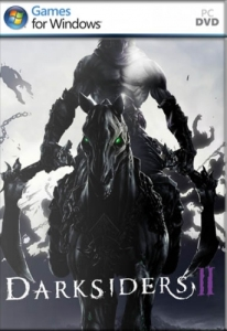The box art for Darksiders 2 on the PC. Death rides a dark horse.