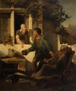 A painting of a blind beggar taking some coins from a woman - she's placing it in his hat.