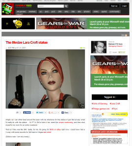 A screen capture of the Destructoid page about the life size Lara Croft statue.