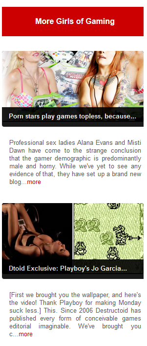 So, yeah - topless porn stars play video games for their blog and a large image of a naked woman draped in video game peripherals.