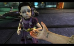Jack from Bioshock reaching out to a Little Sister.